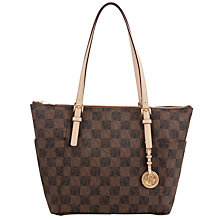 Buy MICHAEL Michael Kors Jet Set Travel Leather Tote Bag, Brown Online at johnlewis.com