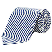 Buy Aquascutum Fine Stripe Silk & Cotton Tie, Blue Online at johnlewis.com