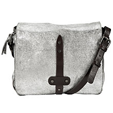 Buy Collection WEEKEND by John Lewis Linden Leather Triple Across Body Bag, Silver Online at johnlewis.com