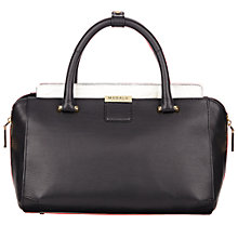 Buy Modalu Westbourne Small Leather Grab Bag, Black/White Online at johnlewis.com