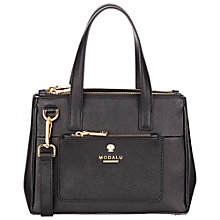 Buy Modalu Phoebe Mini Leather Grab Bag, Black Online at johnlewis.com