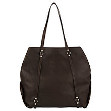 Buy Jigsaw Frances Leather Tote Bag, Chocolate Online at johnlewis.com