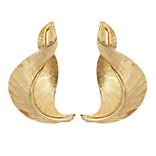Buy Susan Caplan Vintage 1960s Trifari Textured Leaf Clip-On Earrings, Gold Online at johnlewis.com