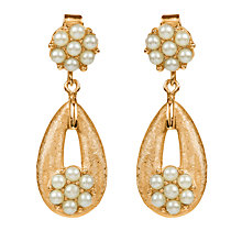 Buy Susan Caplan Vintage 1950s Trifari Faux Pearl Cluster Open Drop Clip-On Earrings, Gold Online at johnlewis.com
