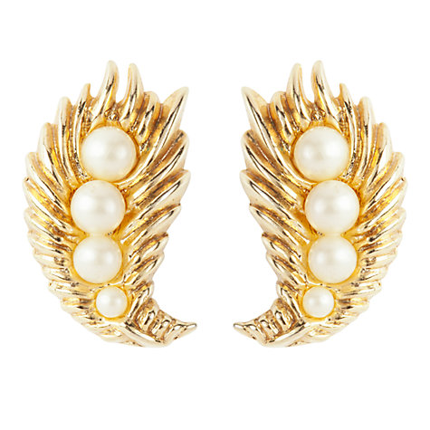 Buy Susan Caplan Vintage 1950s Trifari Graduated Faux Pearl Leaf Clip-On Earrings, Gold Online at johnlewis.com