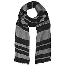 Buy John Lewis Shimmer Stripe Scarf, Grey/Black Online at johnlewis.com