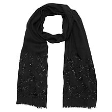 Buy John Lewis Flower And Petal Bead Scarf, Black Online at johnlewis.com