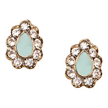 Buy Orelia Enamel Teardrop Stud Earrings, Green Online at johnlewis.com