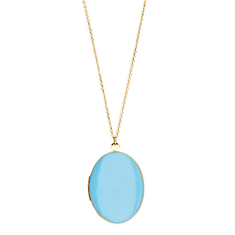 Buy Orelia Smooth Locket Necklace, Blue Online at johnlewis.com