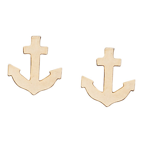 Buy Orelia Anchor Stud Earrings, Gold Online at johnlewis.com