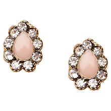 Buy Orelia Tear Stud Enamel Earrings, Pink Online at johnlewis.com