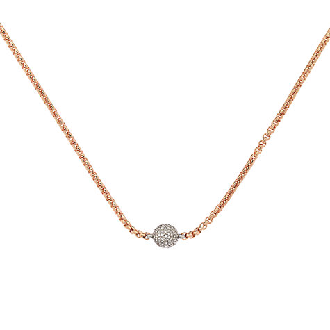 Buy Finesse Swarovski Crystal Pave Ball Necklace, Rose Gold Online at johnlewis.com