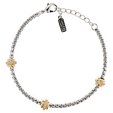 Buy Finesse Swarovski Crystal Station Two Tone Bracelet, Rhodium / Gold Online at johnlewis.com