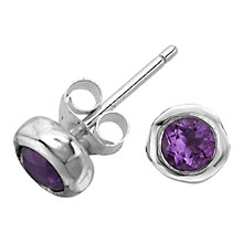 Buy Dower & Hall Amethyst Stone Set Nugget Earrings, Purple/Silver Online at johnlewis.com