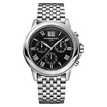 Buy Raymond Weil 4476-ST-00200 Men's Chronograph Stainless Steel Bracelet Watch, Black Online at johnlewis.com