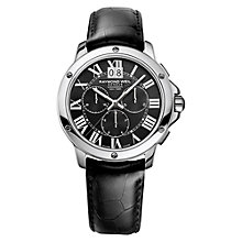 Buy Raymond Weil 4891-ST-00200 Men's Tango Stainless Steel Leather Strap Watch, Black Online at johnlewis.com