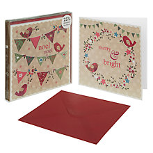 Buy John Lewis Duo Flittered Bunting Christmas Cards, Box of 10 Online at johnlewis.com