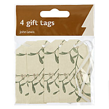 Buy John Lewis Croft Collection Mistletoe and Kraft Gift Tags, Pack of 4 Online at johnlewis.com