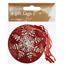 Buy John Lewis Snowflake Flitter Gift Tags, Pack of 4, Red Online at johnlewis.com