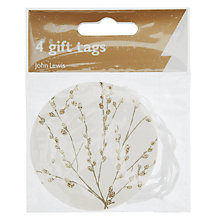 Buy John Lewis Catkins Flitter Tags, Pack of 4, Gold/White Online at johnlewis.com