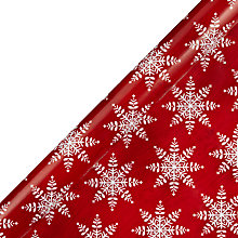 Buy John Lewis Snowflake Gift Wrap, Red, 3m Online at johnlewis.com