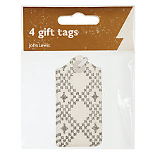 Buy John Lewis Croft Flitter Gift Tags, Pack of 4 Online at johnlewis.com