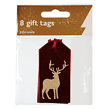 Buy John Lewis Foil Reindeer Gift Tags, Red, Pack of 8 Online at johnlewis.com