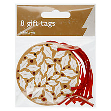Buy John Lewis Topiary Trees Tags, Pack of 8, Gold/White Online at johnlewis.com