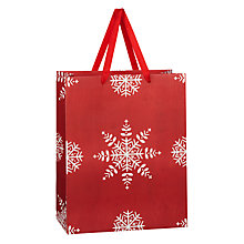 Buy John Lewis Snowflake Gift Bag, Medium, Red Online at johnlewis.com