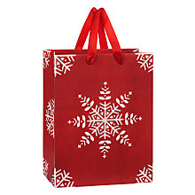 Buy John Lewis Snowflake Gift Bag, Small, Red Online at johnlewis.com
