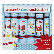 Buy John Lewis Santa and Polar Bear Who Am I Crackers, Set of 6 Online at johnlewis.com