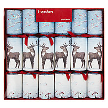 Buy John Lewis Flittered Reindeer Crackers, Set of 6 Online at johnlewis.com