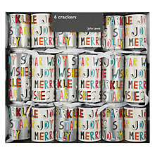 Buy House by John Lewis Contemporary Text Crackers, Set of 6 Online at johnlewis.com