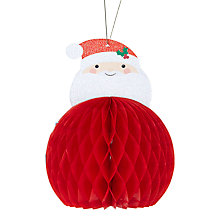 Buy Paper Joy Smiling Santa Honeycomb Tree Decoration Online at johnlewis.com