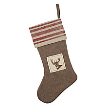 Buy John Lewis Striped Cuff Stag Stocking Online at johnlewis.com