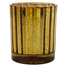 Buy John Lewis Mercurised Glass Tealight Holder, Gold Online at johnlewis.com