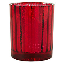 Buy John Lewis Mercurised Glass Tealight Holder, Red Online at johnlewis.com