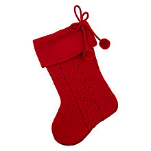 Buy John Lewis Knitted Stocking with Pom Poms, Red Online at johnlewis.com