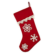 Buy John Lewis Stocking with Lace Snowflakes, Red/White Online at johnlewis.com