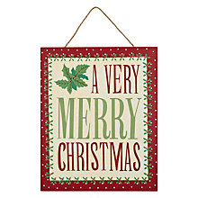 Buy John Lewis Merry Christmas Plaque Online at johnlewis.com