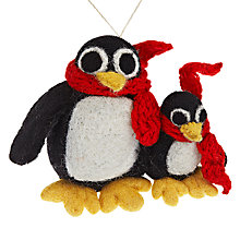 Buy Felt So Good Penguin with Baby Decoration Online at johnlewis.com