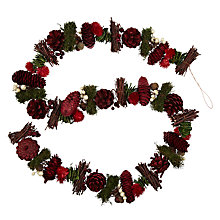 Buy John Lewis Pinecone and Twig Garland, 5ft, Red Online at johnlewis.com