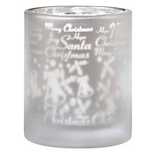 Buy John Lewis Frosted Glass Christmas Tealight Holder Online at johnlewis.com