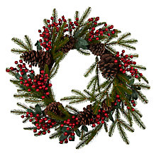 Buy John Lewis Christmas Past Premium Berry and Pine Cone Wreath, Red/Multi Online at johnlewis.com
