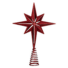 Buy John Lewis Glitter Star Tree Topper, Red Online at johnlewis.com