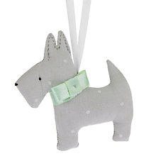 Buy Cambric and Cream Linen Spotty Scottie Dog Christmas Decoration Online at johnlewis.com
