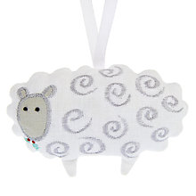 Buy Cambric & Cream Linen Sheep Christmas Decoration, White/Silver Online at johnlewis.com