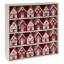 Buy John Lewis Wood Scandi Houses Advent, Red/White Online at johnlewis.com