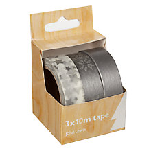 Buy John Lewis Washi 10m Tape, Pack of 3, White/Silver Online at johnlewis.com