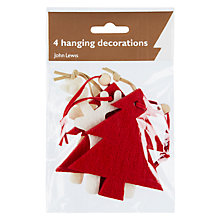 Buy John Lewis Felt Trees and Reindeer Hanging Decorations, Pack of 4 Online at johnlewis.com
